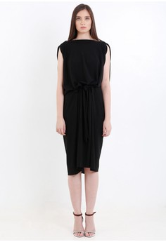 [PRE-ORDER] Sleeveless Tent Dress with Drape Front Detail