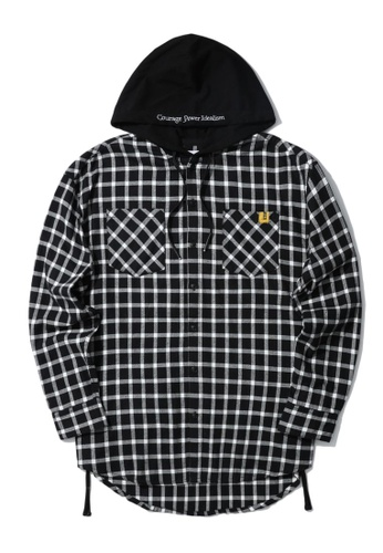 izzue black Hooded check flannel 7BD73AA6C18596GS_1