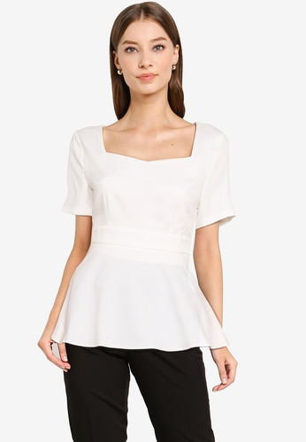 ZALORA WORK white Sweetheart Peplum Top 57B95AA00BFE7BGS_1