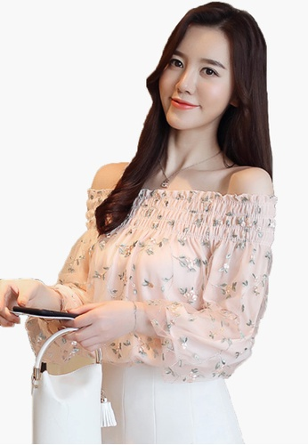 Halo pink Off Shoulder Lantern Sleeve Embroidery Top 02243AAFAF7A19GS_1
