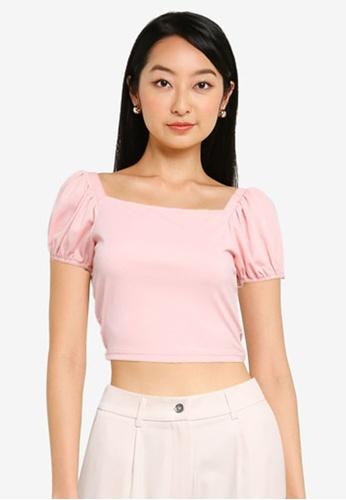 ZALORA BASICS pink Puff Sleeves Rib Crop Top 1F659AA56550BFGS_1