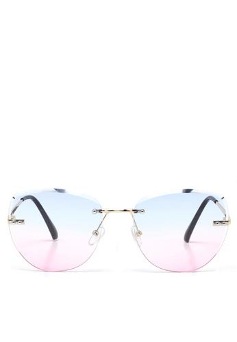 London Rag blue Ombre Lens Metal Frame Rimless Sunglasses 59868GLFE8405FGS_1