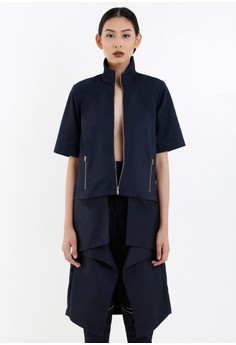 [PRE-ORDER] Navy Blue Twill Coat with Origami Skirt