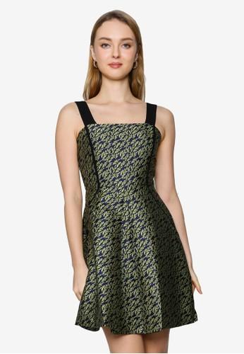 Saturday Club green Strappy Printed A-line Dress 6EC92AA865686FGS_1