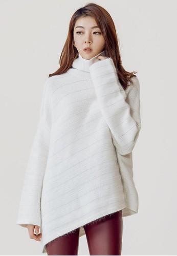斜線波紋高領針織上衣, 服飾, 毛衣esprit taiwan& 針織外套