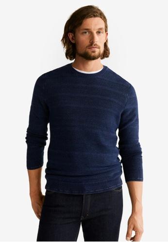 Mango Man 藍色 條紋毛衣 09F6EAA834A45AGS_1