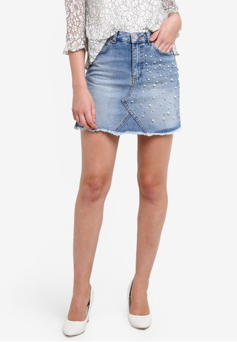 Miss Selfridge blue Pearl Detail Denim Skirt MI665AA0RF1YMY_1