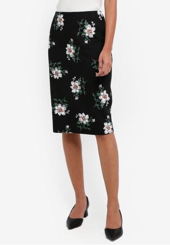 Dorothy Perkins black Floral Pique Pencil Skirt 7AF9FAAFFB1F08GS_1