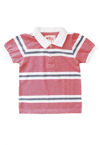 Marcus red Gabriel Striped Polo Shirt 383A3KA4CC5C47GS_1