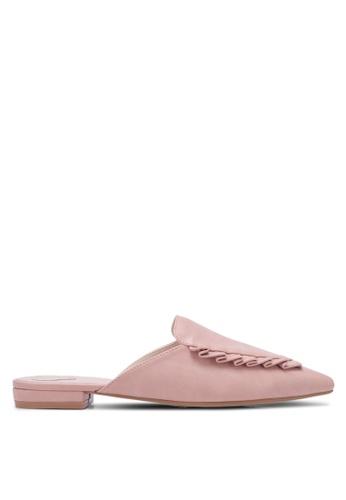 Velvet pink Pleated Mule Flats 701EDSHAB1CA63GS_1