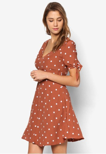 Vivian 繫帶短袖點點洋裝, esprit分店服飾, 洋裝