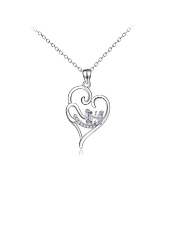 Glamorousky white 925 Sterling Silver Simple and Cute Cat Heart Pendant with Cubic Zirconia and Necklace A977DAC5BD9E0BGS_1