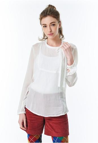 United Colors of Benetton 白色 綁帶造型襯衫 1D14AAA5D9CC01GS_1