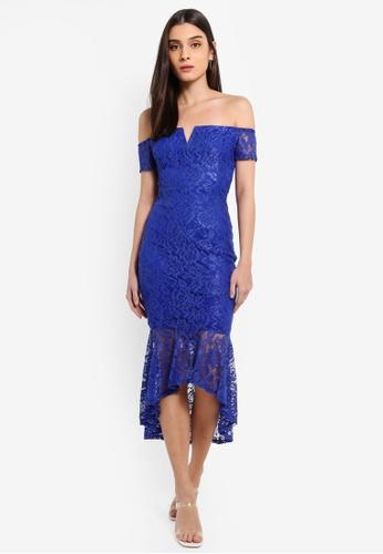 AX Paris blue Blue Lace Bardot Fishtail Dress D0A62AA4EFDD25GS_1