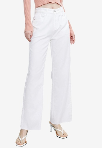 URBAN REVIVO white Wide Leg Trousers 14CE5AA27E2DEAGS_1