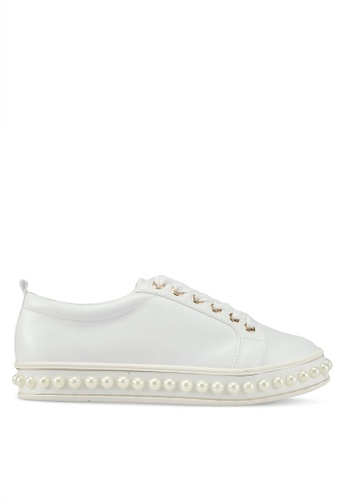Something Borrowed white Pearl Studded Sneakers 28017SHB579303GS_1