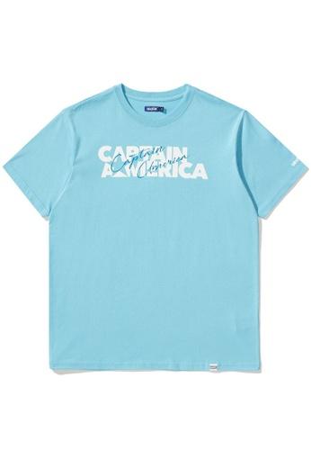 BLOCKAIT blue X Marvel Captain America logo tee E7495AA352E78EGS_1