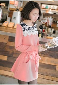 [IMPORTED] Snowflake Sensation Drawstring Dress – Pink