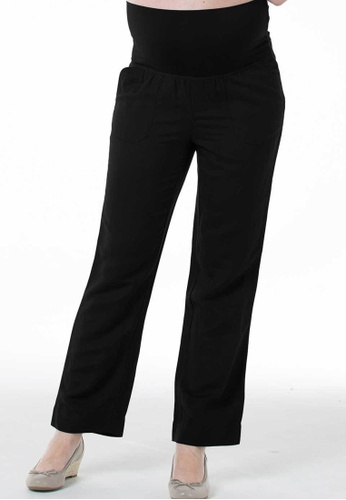 Bove by Spring Maternity black Woven Pants Rayon Linen 0B08DAA3DDB598GS_1