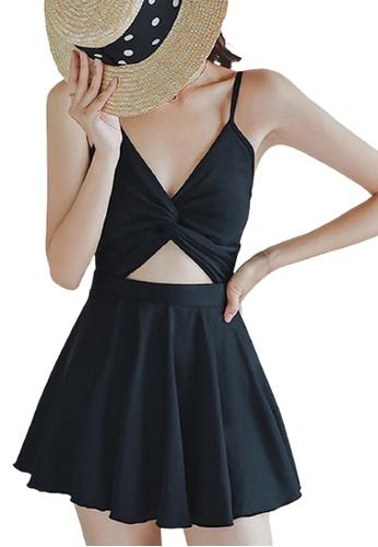 Halo black (2 Pcs)Black Slim Fit Swimsuits With Mini Skirts F3CD9US2842093GS_1