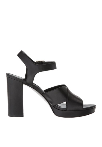 Nine West black NWJIMAR Leather Platform Sandals 33E1ESH2EBD9AAGS_1