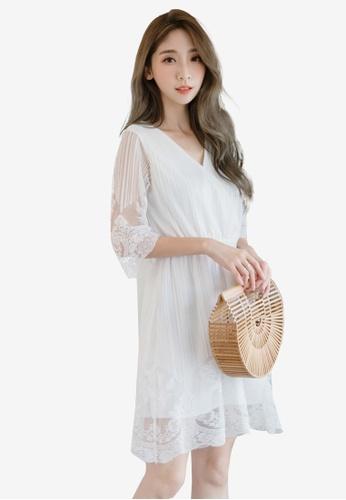 Eyescream white Lace Wrap Dress C99E4AAFE2C36BGS_1