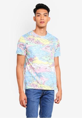 Topman blue Blue Beach T-Shirt 70434AACF6F817GS_1