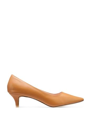 nose 米褐色 Pointy Toe Low Heel Pumps 46563SH7734D37GS_1