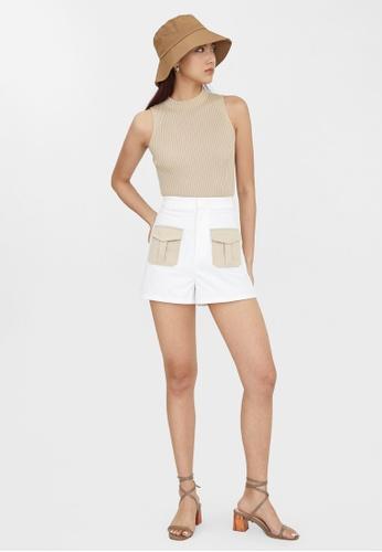Pomelo white Contrast Twin Pocket Shorts - White 1DFEDAA0AE83CDGS_1