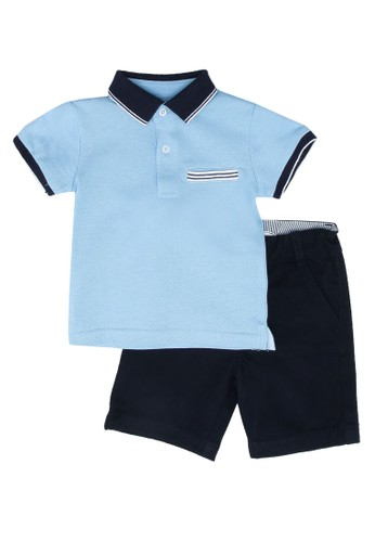 Babybol blue and navy Baby 2 Piece Polo Set 0B099KA6A19303GS_1