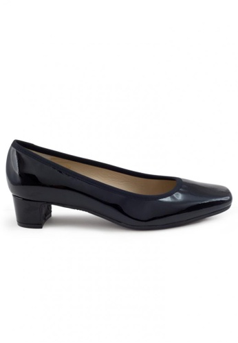 Shu Talk black Patent Square Toe Low Block Heels SH617SH2UXGYHK_1