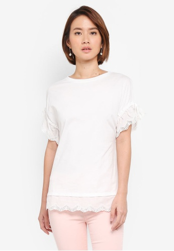 Dorothy Perkins white Ivory Broiderie Sleeve T-Shirt E7D3AAAEF07D31GS_1
