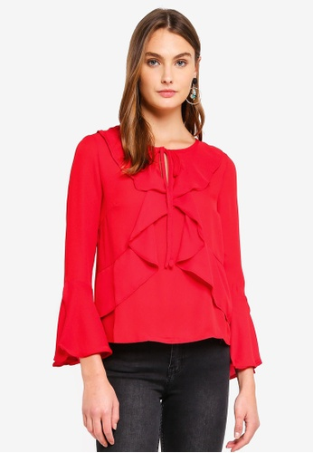Brave Soul red Long Sleeve Top With Ruffles A2BCEAAA707DBEGS_1