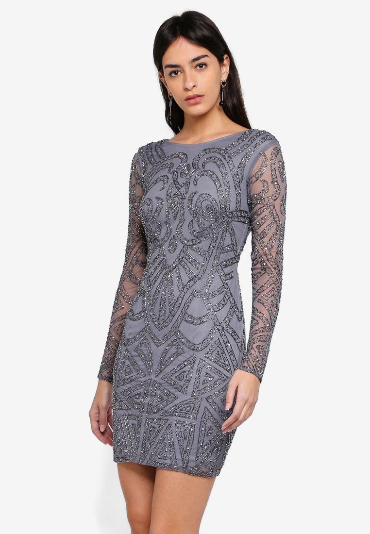amp; Brooklyn Beads Grey Lace Dress Ew4xqwOA