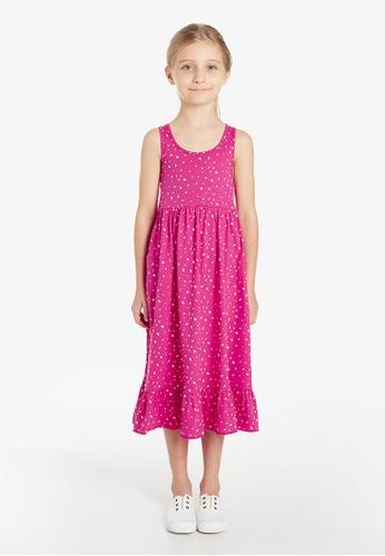 Gen Woo pink Hot Pink Printed Midi Smock Dress By Gen Woo 7697DKADA9DD20GS_1