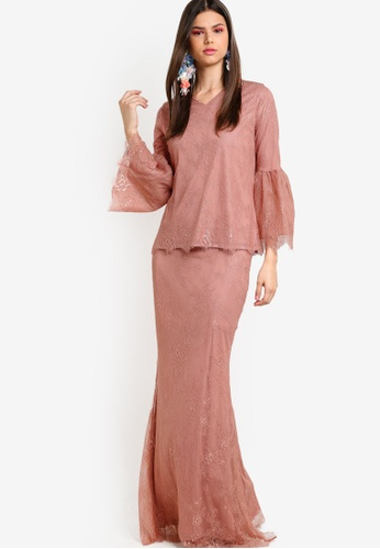Lubna brown and beige French Lace Kurung LU723AA25ZYGMY_1