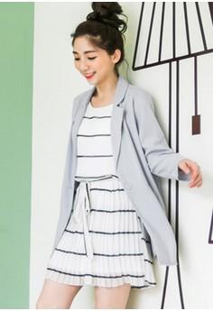 Elegant Charm Striped Chiffon Dress - White