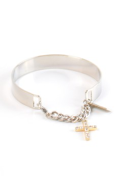 Silver Cuff with Crystal-Crusted Gold Cross Charm