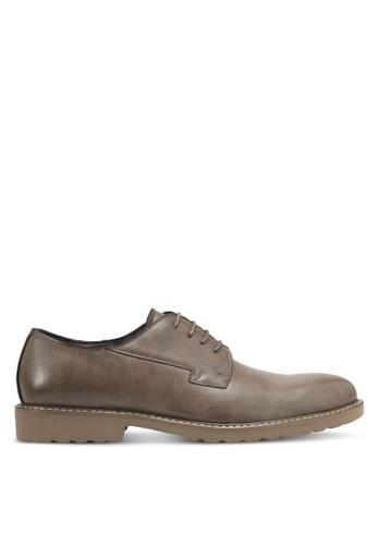 ZALORA grey Faux Leather Brogues 049E4SH2094872GS_1
