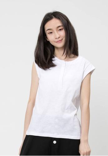 a3a09b0de491c so that s me white Henley and Cap Sleeve Slub Cotton White T-shirt  2B29DAABB50700GS 1