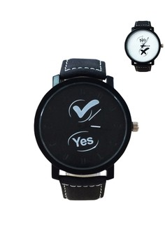 Yes and NO Black Leather Couple Watch