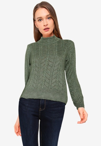 Vero Moda green Carla Long Sleeves High Neck Top A766FAA617D8EEGS_1