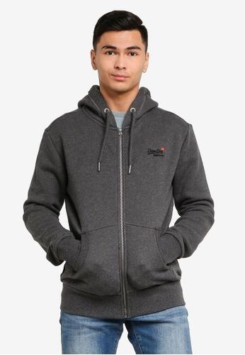 Superdry grey Orange Label Classic Zip hoodie - Vintage Logo Emblem D40E4AAC8DBA8AGS_1