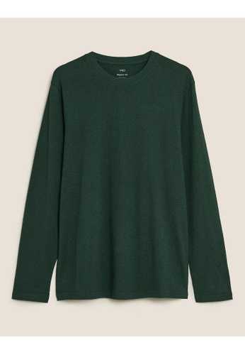 MARKS & SPENCER green M&S Pure Cotton Long Sleeve T-Shirt 55AB1AA9FB5D4CGS_1