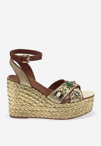 ASH brown Tulum - Brown Rivets Embroidery Heels 32B8ESH57D504FGS_1