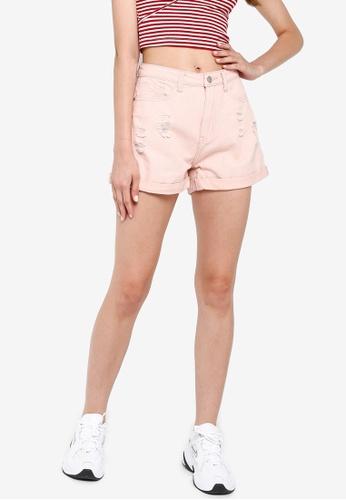 Something Borrowed 粉紅色 縮口丹寧短褲 D31A5AA34849B8GS_1