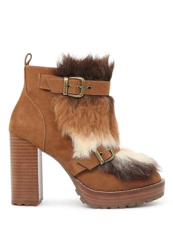 London Rag 褐色 秋季中粗跟靴子毛绒装饰高跟靴 69E8ESH9139F14GS_1