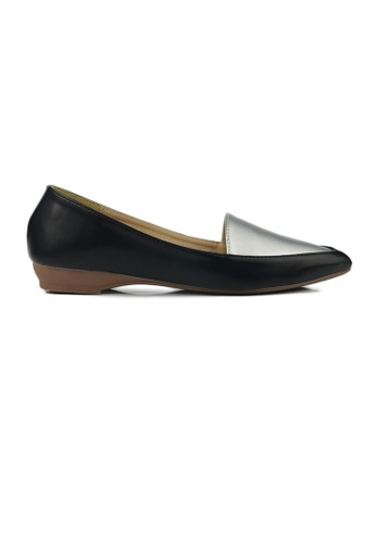 SHINE black and silver Faux Leather Loafers 9FAB3SH5F306DDGS_1