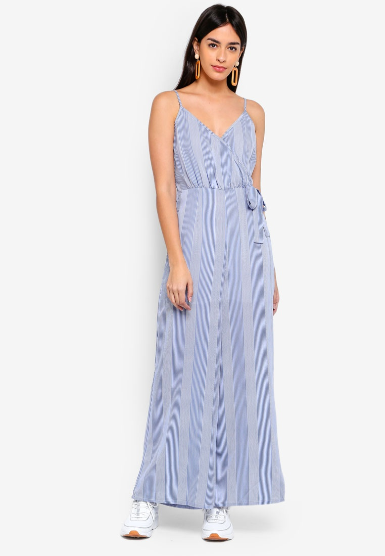 On Cotton Hanna Jumpsuit Sully Woven Stripe Strappy Wrap axAqd