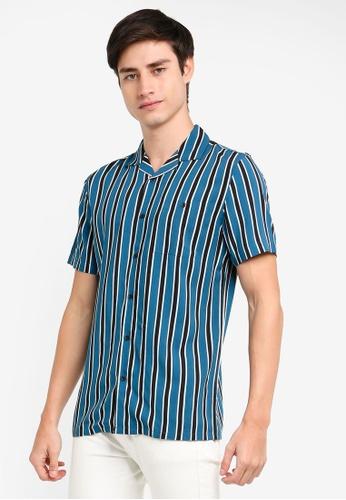 OVS 藍色 短袖印花襯衫 242A6AA1617859GS_1